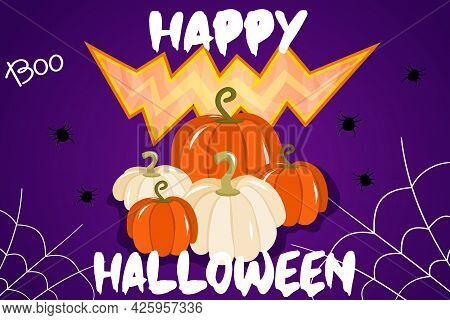 Vector Illustration With A Banner For Halloween Or An Invitation To A Party With Cobwebs, Pumpkins A