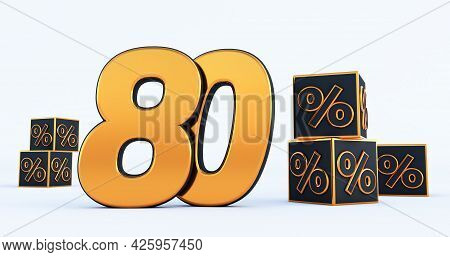 Gold Eighty 80 Percent Number With Black Cubes  Percentages Isolated On White Background. 3d Render