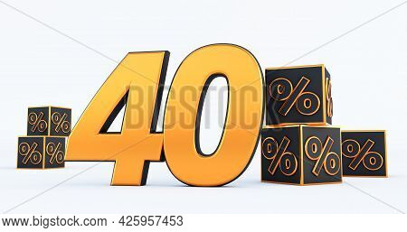 Gold Forty 40 Percent Number With Black Cubes  Percentages Isolated On White Background. 3d Render