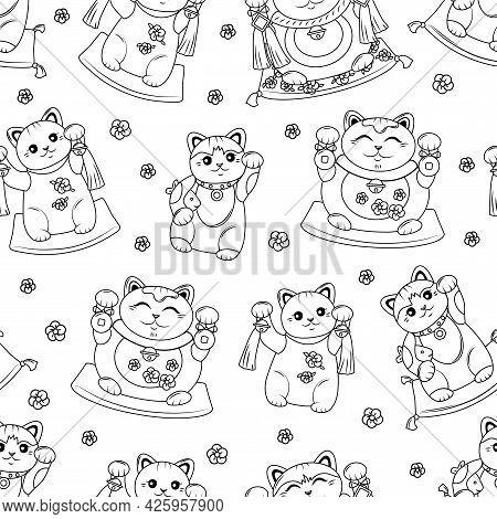 Maneki Neko Japanese Cat Luck Seamless Pattern. Coloring Book. Vector Background Outline.