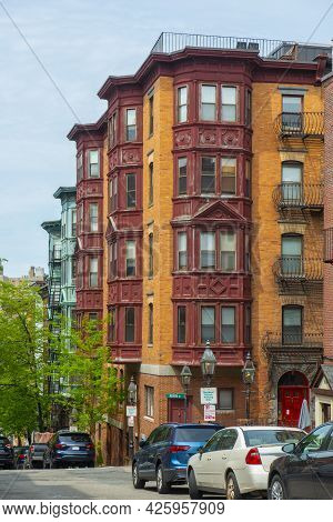 Historic Buildings At 37 Revere Street At Anderson Street On Beacon Hill, Boston, Massachusetts Ma,
