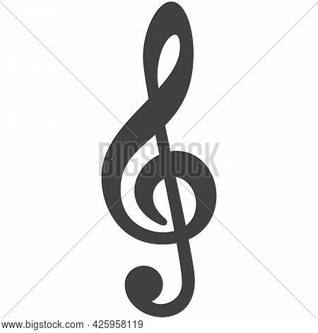 Treble Clef Vector Music Icon Isolated On White