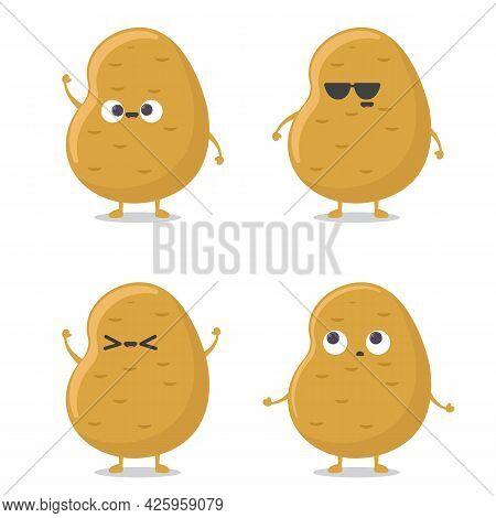 Cute Funny Happy Smiling Funny Potato Set Isolated On White Background. Vector Flat Cartoon Potato C