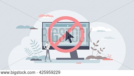 Banned Website And Forbidden Risky Internet Browser Site Tiny Person Concept. Online Warning Notific