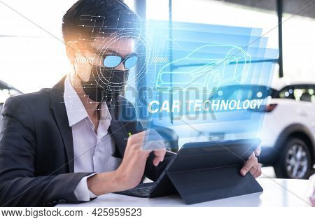 Asian Man Car Inspection Holding Taplet Application For Service Car For Car Futuristic Vehicle Graph