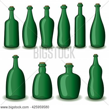 Set Of Green Vintage Bottles Isolated On White Background. Vector