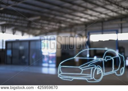 Car Inspection Holding Taplet Application For Service Car For Car Futuristic Vehicle Graphical Gui I