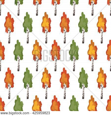 Seamless Pattern With Green, Red And Orange Birch Trees. Forest Autumn Plants, Natural Print For Wra