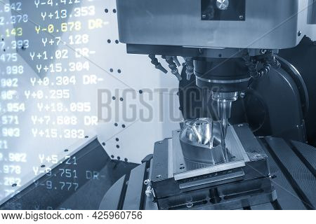 The Abstract Scene Cnc Milling Machine Cutting The  Mold Parts With G-code Data Background. The Mold