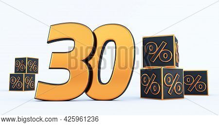 Gold Thirty 30 Percent Number With Black Cubes  Percentages Isolated On White Background. 3d Render