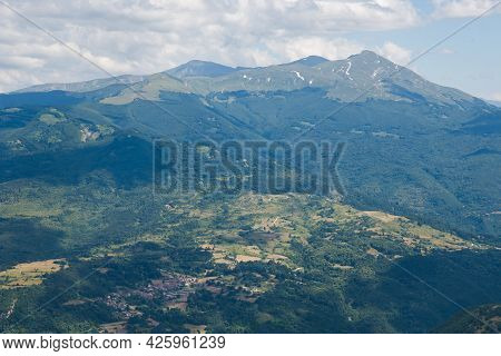 Panoramic View Of High Mountains From Forca Di Presta In The Marche Region