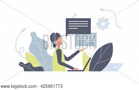 Customer Service Worker Woman With Headsets Service Or Consult Customers On Computers.hotline Operat