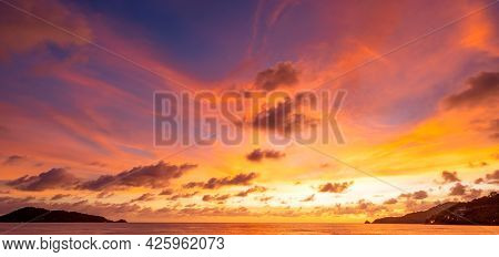 Majestic Sunset Or Sunrise Landscape Amazing Light Of Nature Cloudscape Sky And Clouds Moving Away R