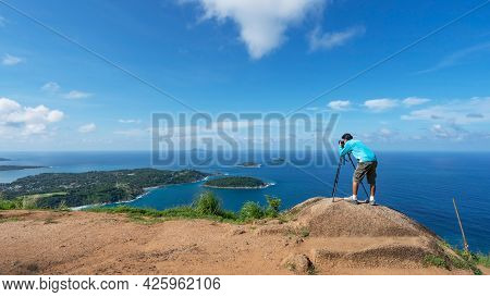 Travel Man Photographer Take A Photo Or Video Landscape View At Phahindum Viewpoint Popular Landmark