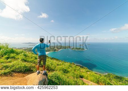 Travel Man Standing On Rock Take A Photo Or Video Landscape View At Phahindum Viewpoint Popular Land
