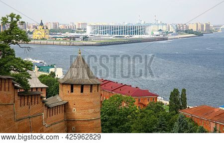 Tower And Wall Of The Nizhny Novgorod Kremlin And A View Of The Confluence Of Two Rivers Volga And O
