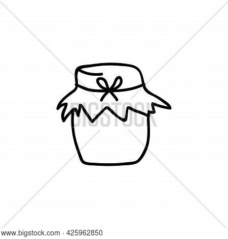 Single Hand Drawn Homemade Jam Jar. Doodle Vector Illustration. Isolated On A White Background.