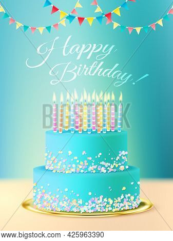Happy Birthday Postcard With Layered Round  Cake With Blue Icing Candles And Festive Background Real