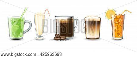 Beverages, Drinks Set. Soft Drink Orange, Mahito, Coffee Latte, Milkshake, Coffee Americano. Isolate