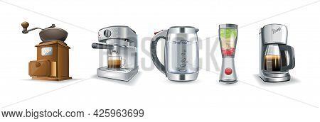 Household Kitchen Appliances Icon Set. Coffee Maker, Electric Kettle, Retro Coffee Grinder, Blender,