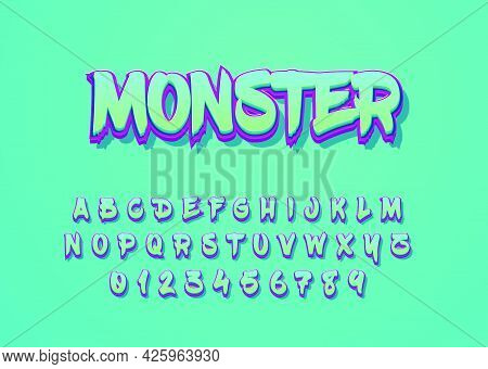 Monster Cartoon Style Font Effect. Custom Alphabet And Number For Game Title Or Movie Poster.