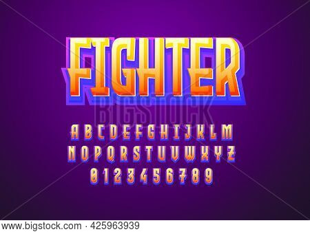 3d Typeface Game Logo Title Text Effect. Custom Font Alphabet Letter And Number