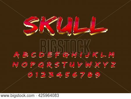 Metallic Text Effect With Red And Gold Color. Modern Look Alphabet And Number.