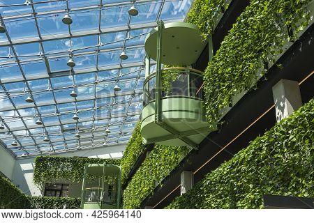 Vilnius, Lithuania - 04 July 2021: Vertical Plants Garden In Paupys Market. Paupys Market - New Mode