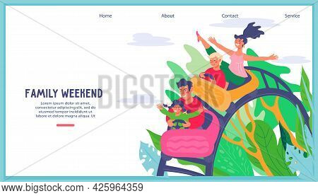 Amusement Park Or Funfair Website Banner Template With Family Riding Roller Coaster. Weekend Family