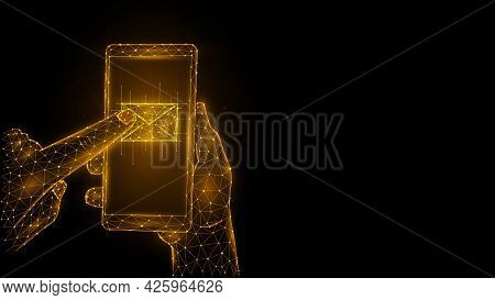 Polygonal Vector Illustrations Of A Hand Holding A Phone And Pressing An Email With The Index Finger