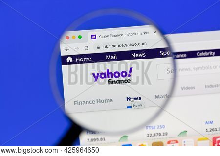 Ostersund, Sweden - June 1, 2021. Yahoo finance homepage. Yahoo is an American web services provider.