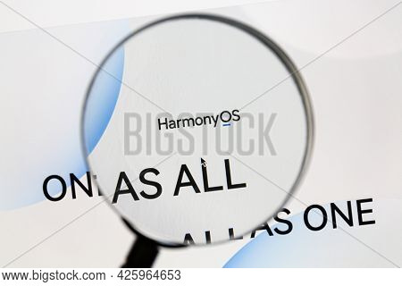 Ostersund, Sweden - June 19, 2021: Harmony OS website. Harmony OS is a operating system developed by Huawei to run on multiple devices.