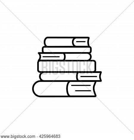 Stack Of Books, Simple Linear Icon On White Background. Logo For Bookstore, Day Of Knowledge, Day Of