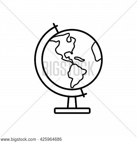 School Globe For Geography Lessons. Simple Vector Image Of School, University And Education. Back To