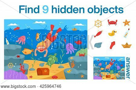 Find 9 Hidden Objects In The Picture. Young Man Dives Under Water For Treasure. Vector Illustration