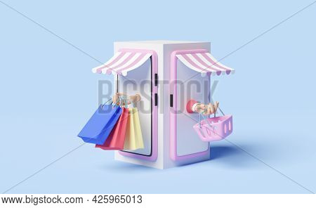Mobile Phone Or Smartphone With Store Front,hand Holding Colorful Shopping Paper Bags,shopping Baske