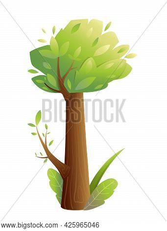 Fairy Tale Tree Isolated On White, Hand Drawn Big Trunk Tree For Kids With Green Lush Crown Grass An