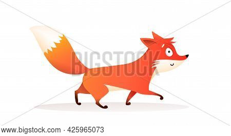 Cute Red Fox Walking, Funny Cartoon For Children Of A Wild Fox Cub With Bushy Tail, Character In Mot
