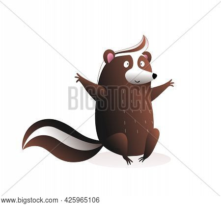 Cute Baby Skunk Sitting , Funny Cartoon For Children Of A Wild Skunk Or Raccoon Cub With Bushy Tail,