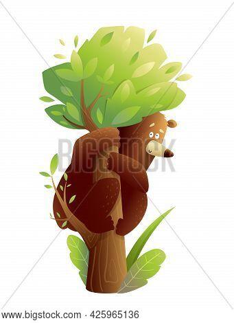 Big Brown Bear Sitting On The Tree Trunk, Scared Or Having Fun. Climbing Bear Cub On The Tree, Carto