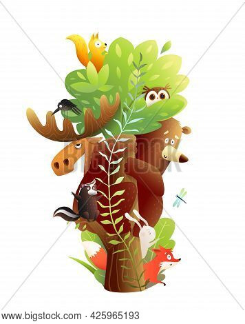 Woodland Animals Friends Sitting On The Big Tree Together. Bear, Moose, Rabbit, Squirrel And Other A