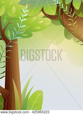 Fairy Forest Background With Copy Space, Lush Summer Green Woodland With Trees Trunks And Twigs. Han