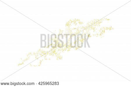 Sprinkled Golden Texture With Crumbs. Background Gold Dust On White Background. Sand Particles Grain