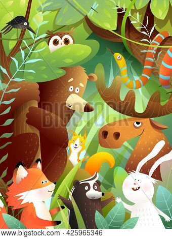 Woodland Animals Friends In Green Forest Together. Bear, Moose, Rabbit, Squirrel Snake And Other Ani