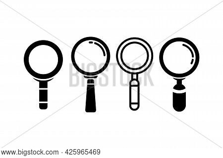 Vector Set Of Different Flat Loupe Icon Illustration, Search Or Find Silhouette Symbol Template Desi