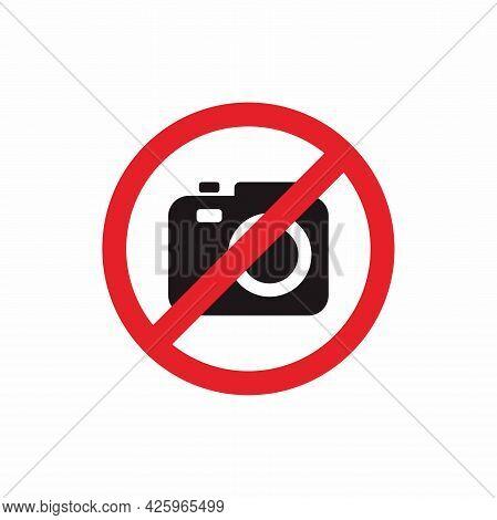 No Camera Illustration Design, No Camera Allowed Symbol With Red Forbidden Sign Template Vector