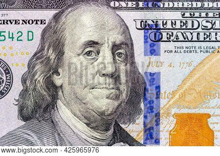One Hundred Dollar Bill Close-up. President Benjamin Franklin On A Hundred Dollar Bill. 100 Dollars