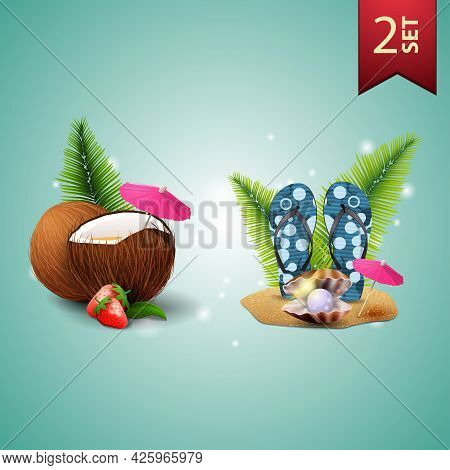 Set Of 3D Volumetric Summer Icons For Your Arts, Strawberry Cocktail In Coconut, Flip Flops, Pearl A