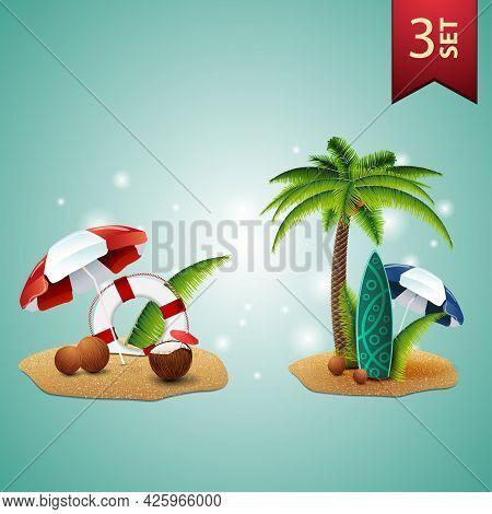 Set Of 3D Volumetric Summer Icons For Your Arts, Coconut Cocktail, Beach Umbrella, Lifeline, Palm, C