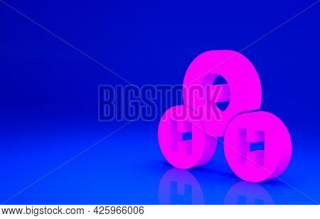 Pink Chemical Formula For Water Drops H2o Shaped Icon Isolated On Blue Background. Minimalism Concep